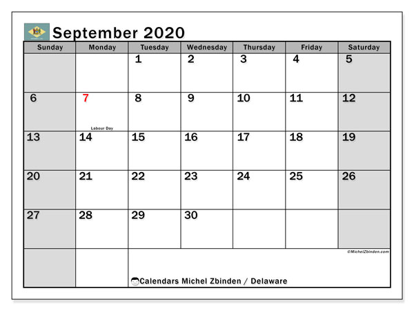 "Printable ""Delaware"" calendar with public holidays. Monthly September 2020 calendar and free planner to print."