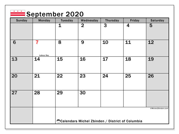 September 2020 Calendar, with the District of Columbia holidays. Holidays calendar to print free.