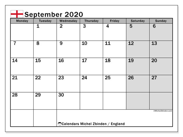 September 2020 Calendar, with the holidays of England. Free printable calendar with public holidays.