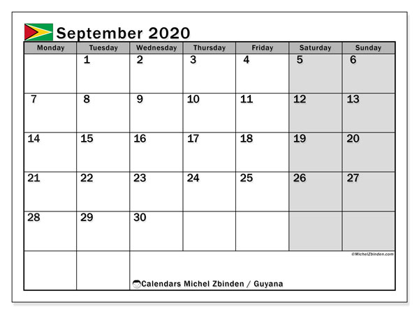 Printable September 2020 Calendar, Guyana