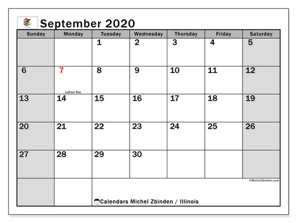 Calendar September 2020 - Illinois. Public Holidays. Monthly Calendar and free agenda to print.