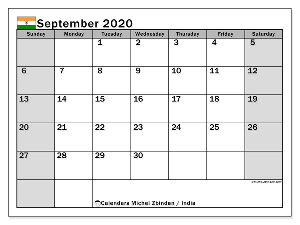 "Printable ""India"" calendar with public holidays. Monthly September 2020 calendar and free planner to print."