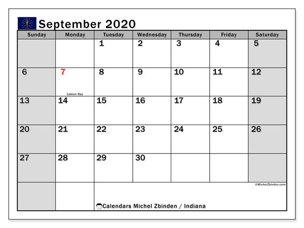 "Printable ""Indiana"" calendar with public holidays. Monthly September 2020 calendar and free printable timetable."