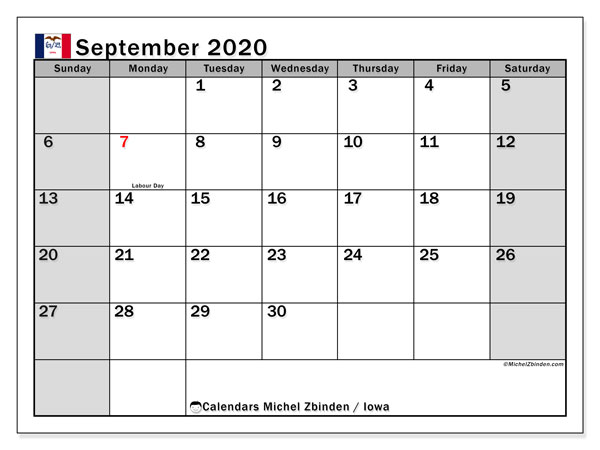 "Printable ""Iowa"" calendar with public holidays. Monthly September 2020 calendar and free printable timetable."
