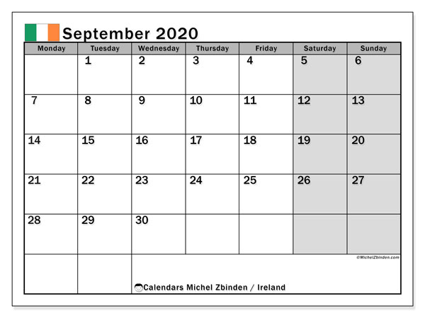 Printable September 2020 Calendar, Ireland