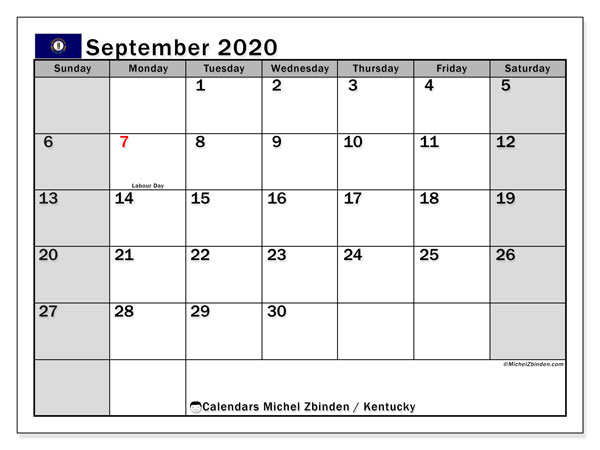 September 2020 Calendar, with the holidays of Kentucky. Free printable calendar with public holidays.