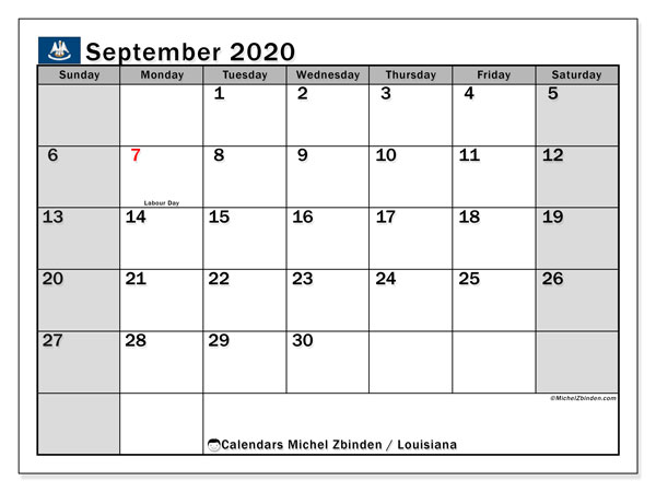 September 2020 Calendar, with the holidays of Louisiana. Free printable calendar with public holidays.