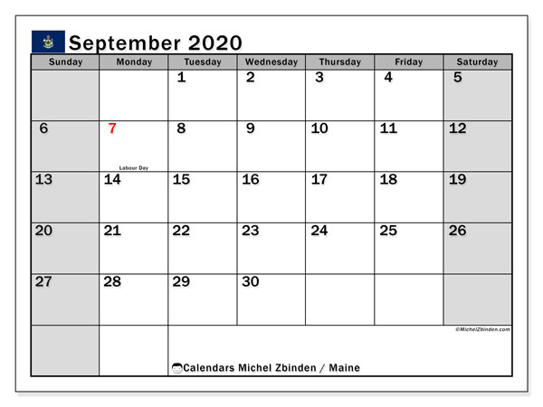 "Printable ""Maine"" calendar with public holidays. Monthly September 2020 calendar and planner to print free."