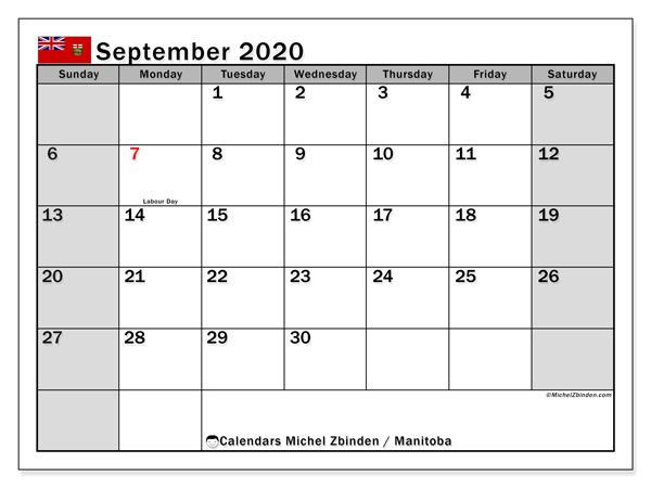 "Printable ""Manitoba"" calendar with public holidays. Monthly September 2020 calendar and schedule to print free."