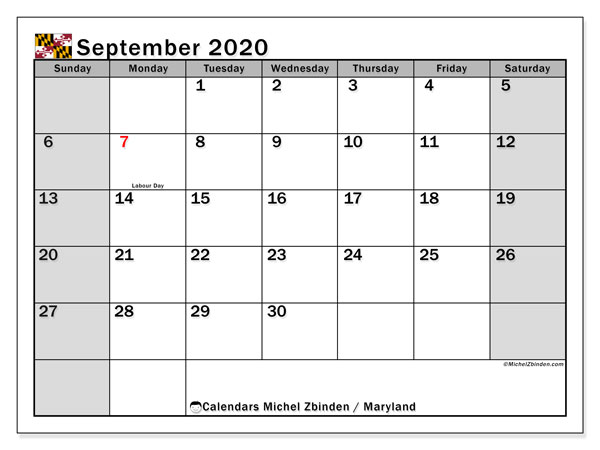 September 2020 Calendar, with the holidays of Maryland. Free printable calendar with public holidays.