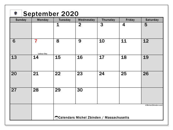 Calendar September 2020 - Massachusetts. Public Holidays. Monthly Calendar and free timetable to print.