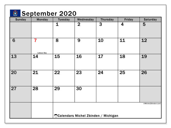 September 2020 Calendar, with the holidays of Michigan. Free printable calendar with public holidays.