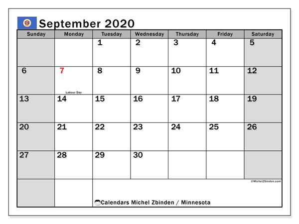 September 2020 Calendar, with the holidays of Minnesota. Free printable calendar with public holidays.