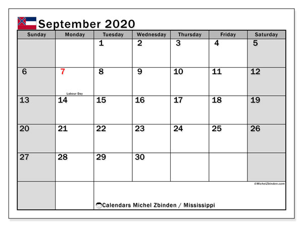September 2020 Calendar, with the Mississippi holidays. Holidays calendar to print free.