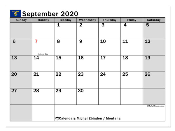 Calendar September 2020 - Montana. Public Holidays. Monthly Calendar and free printable schedule.