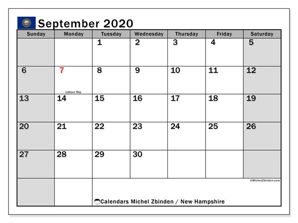 September 2020 Calendar, with the holidays of New Hampshire. Free printable calendar with public holidays.
