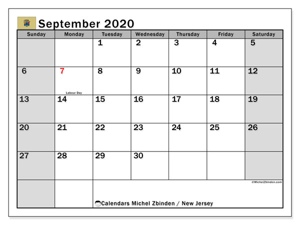 September 2020 Calendar, with the holidays of New Jersey. Holidays calendar to print free.