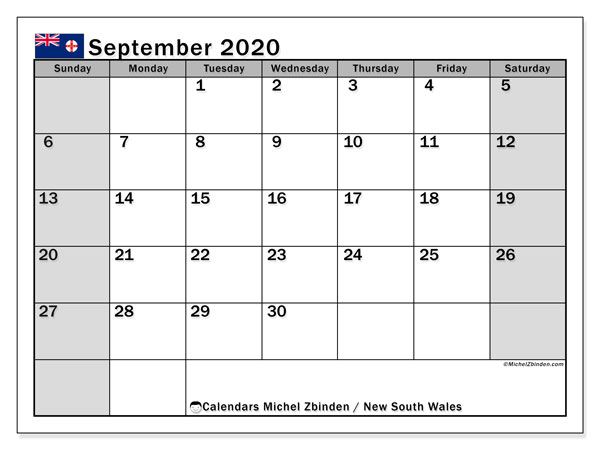 September 2020 Calendar, with the holidays of New South Wales. Holidays calendar to print free.