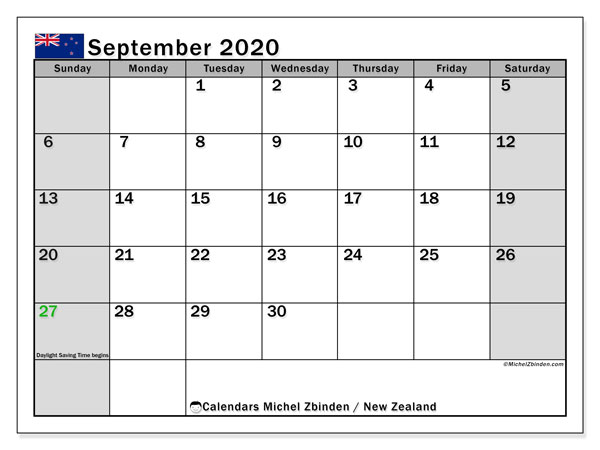 Calendar September 2020 - New Zealand. Public Holidays. Monthly Calendar and free bullet journal to print.