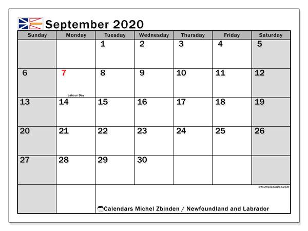 September 2020 Calendar, with the holidays of Newfoundland and Labrador. Holidays calendar to print free.