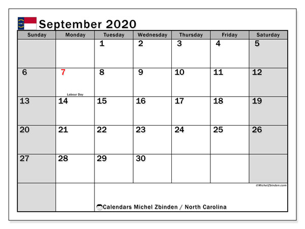 "Printable ""North Carolina"" calendar with public holidays. Monthly September 2020 calendar and free schedule to print."