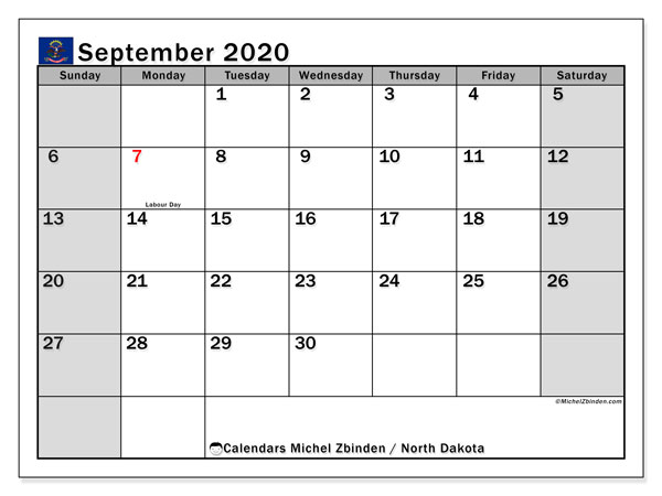 September 2020 Calendar, with the holidays of North Dakota. Holidays calendar to print free.