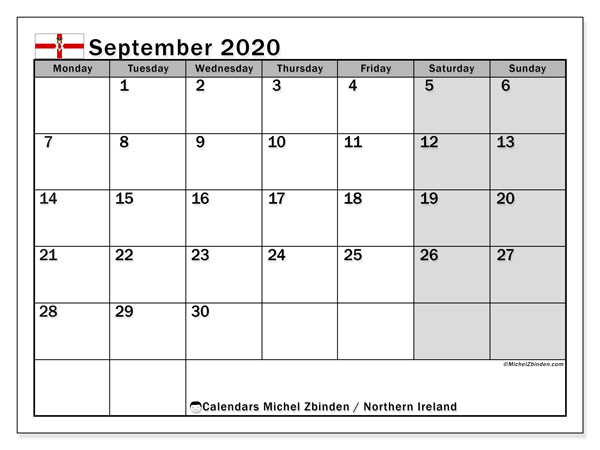 September 2020 Calendar, with the holidays of Northern Ireland. Free printable calendar with public holidays.