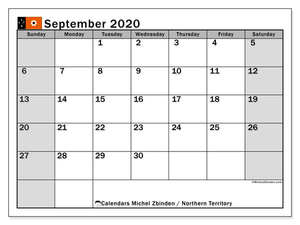 "Printable ""Northern Territory"" calendar with public holidays. Monthly September 2020 calendar and timetable to print free."