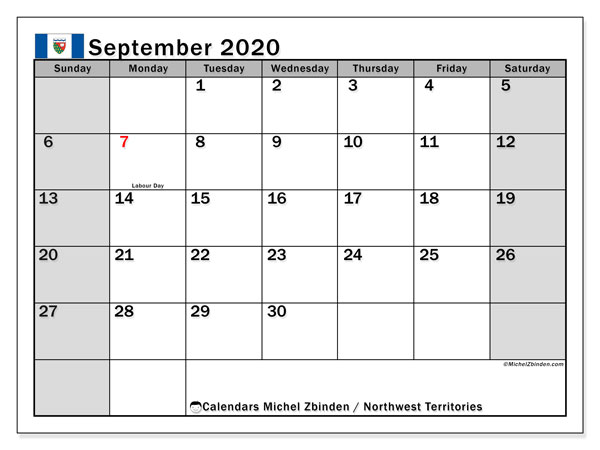 September 2020 Calendar, with the holidays of Northwest Territories. Holidays calendar to print free.