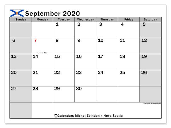 September 2020 Calendar, with the holidays of Nova Scotia. Free printable calendar with public holidays.