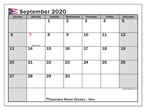 September 2020 Calendar, with the holidays of Ohio. Holidays calendar to print free.
