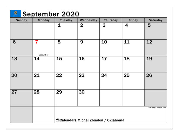 September 2020 Calendar, with the holidays of Oklahoma. Free printable calendar with public holidays.