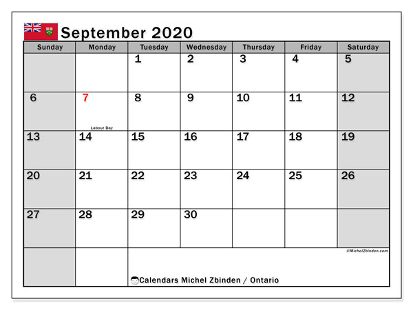 Calendar September 2020 - Ontario. Public Holidays. Monthly Calendar and free planner to print.