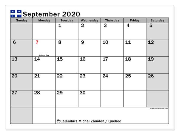 September 2020 Calendar, with the holidays of Quebec. Holidays calendar to print free.