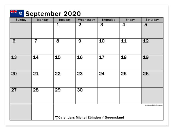 September 2020 Calendar, with the holidays of Queensland. Holidays calendar to print free.