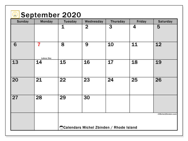 September 2020 Calendar, with the holidays of Rhode Island. Free printable calendar with public holidays.