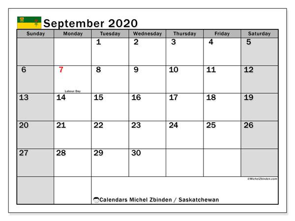 September 2020 Calendar, with the holidays of Saskatchewan. Free printable calendar with public holidays.