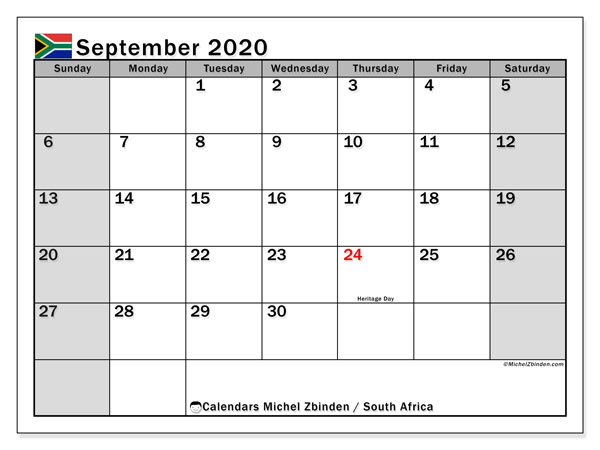 Printable September 2020 Calendar, South Africa