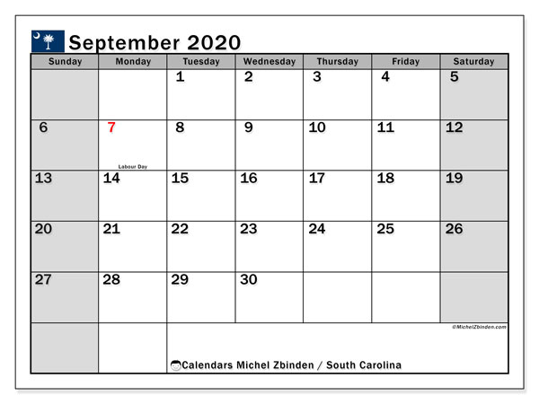 September 2020 Calendar, with the holidays of South Carolina. Free printable calendar with public holidays.