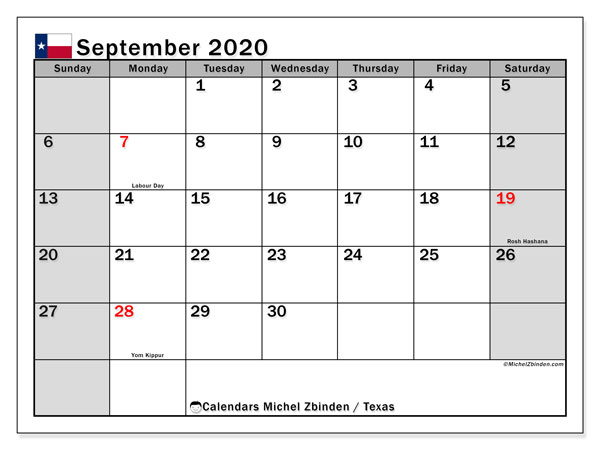 September 2020 Calendar, with the holidays of Texas. Free printable calendar with public holidays.