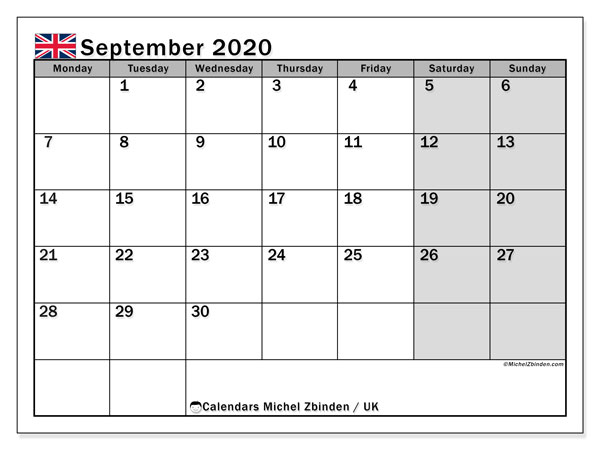 September 2020 Calendar, with the holidays of UK. Free printable calendar with public holidays.