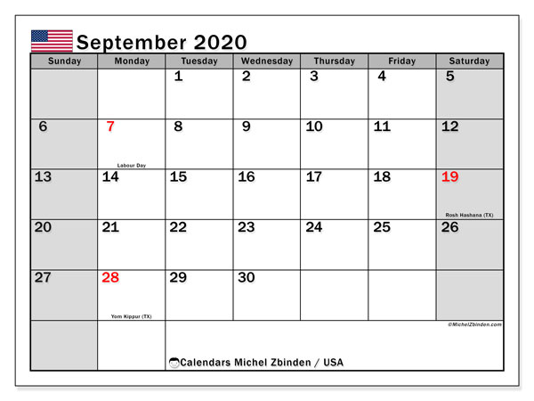 Printable September 2020 Calendar, USA
