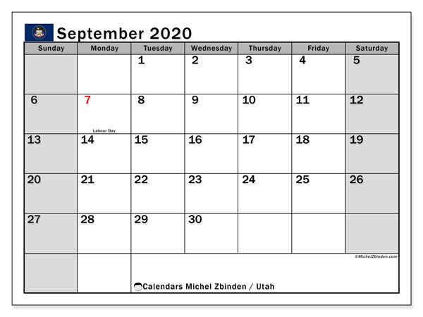 September 2020 Calendar, with the holidays of Utah. Free printable calendar with public holidays.