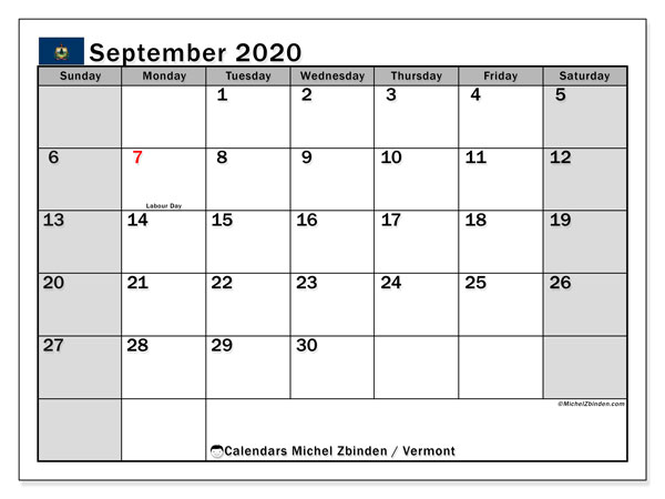 September 2020 Calendar, with the holidays of Vermont. Free printable calendar with public holidays.