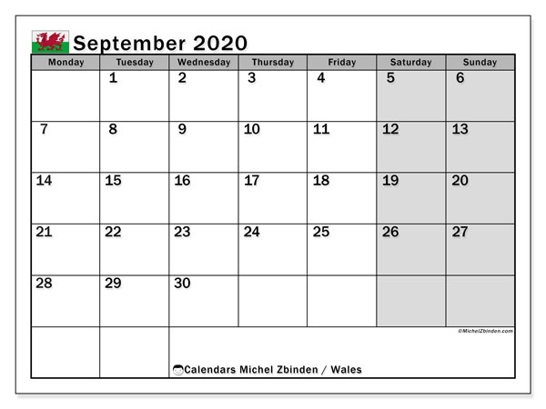 September 2020 Calendar, with the holidays of Wales. Free printable calendar with public holidays.