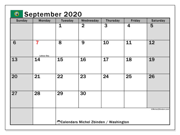 September 2020 Calendar, with the holidays of Washington. Holidays calendar to print free.
