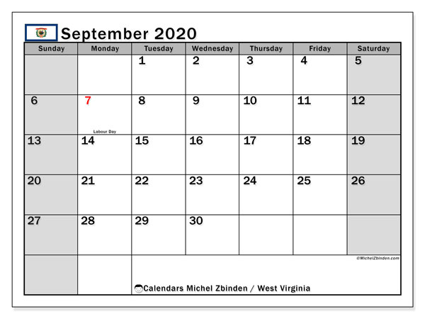 September 2020 Calendar, with the holidays of West Virginia. Free printable calendar with public holidays.