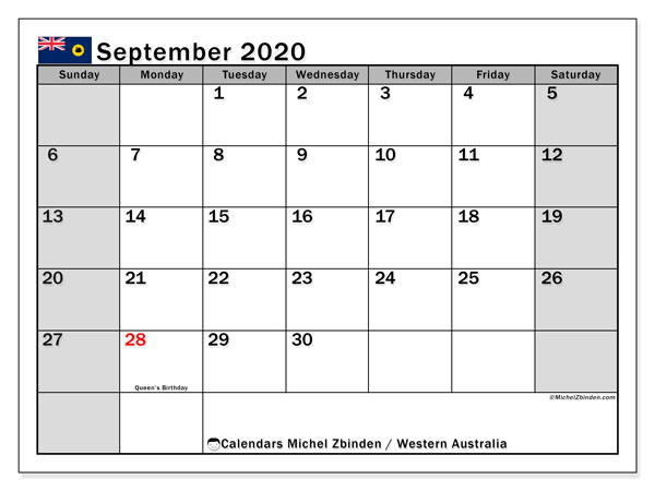 September 2020 Calendar, with the holidays of Western Australia. Free printable calendar with public holidays.