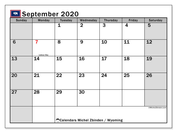 September 2020 Calendar, with the holidays of Wyoming. Free printable calendar with public holidays.
