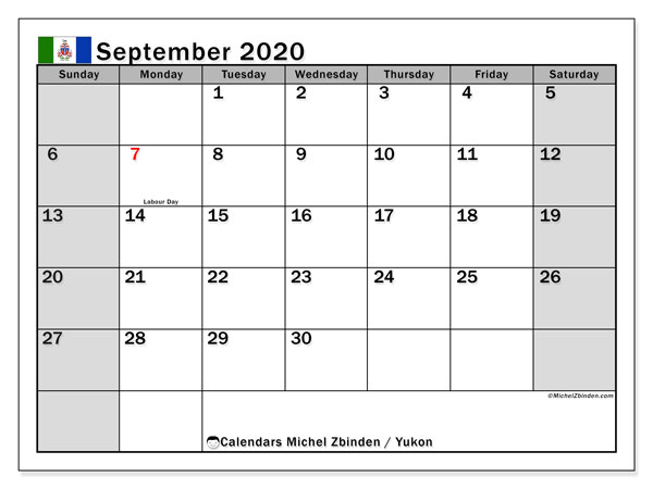 "Printable ""Yukon"" calendar with public holidays. Monthly September 2020 calendar and free printable timetable."